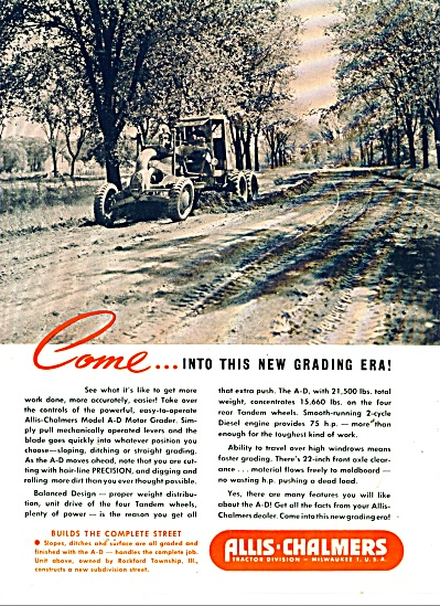 1946 Allis Chalmers Ad Road Grader Rockford