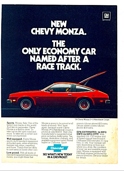 1978 -  Chevrolet Monza hatchback coupe ad (Image1)