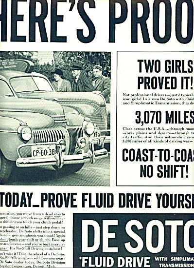 1941 - Desoto Fluid Drive Automobile Ad