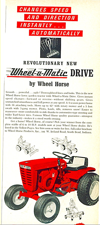 Wheel Horse Tractor Ad 1965