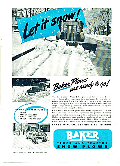 Baker truck and tractor snow plows ad 1946 (Image1)