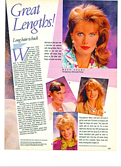 1985 - Great Lengths Hair Story 4pg Maud Adams +++