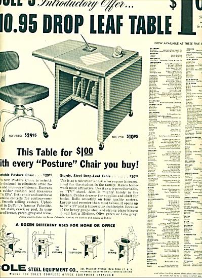 1955 -  Cole's drop leaf table ad (Image1)