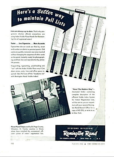 1946 Remington Rand AD - Voter Poll Lists VOTING (Image1)