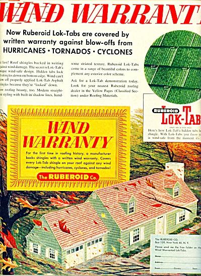1957 -  Ruberoid lok-tabs ad Roofing Shingles (Image1)