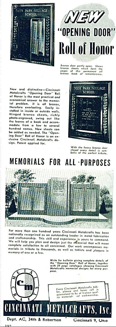 Cincinnati Metalcrafts - Memorials  ad 1946 (Image1)