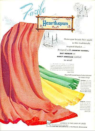1955 Faribo Hearthspun blankets AD Homespun (Image1)