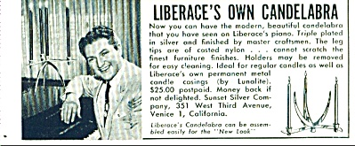 LIBERACE'S OWN CANDELABRA  ad 1955 (Image1)