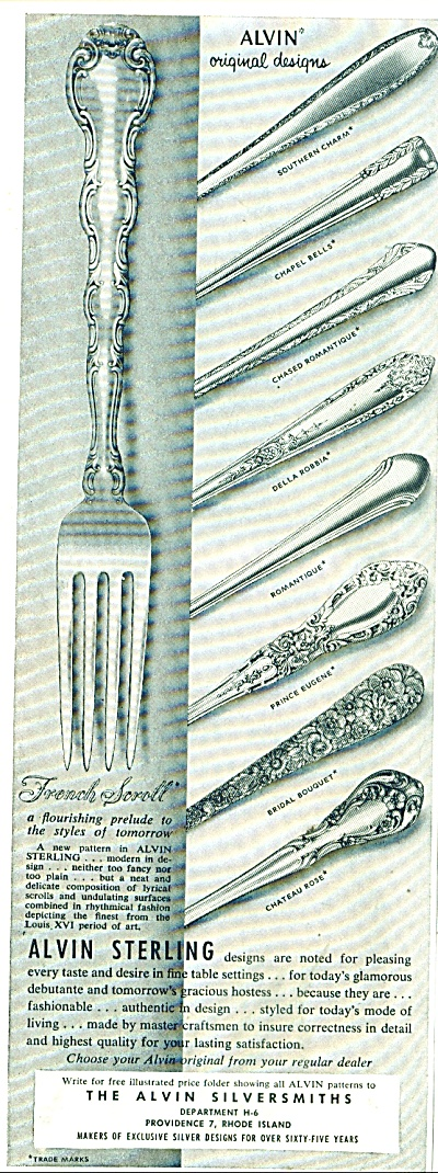 The Alvin Silversmiths ad 1955 (Image1)