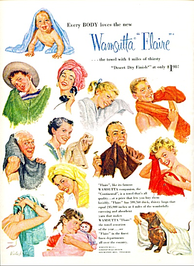 Wamsutta Flaire Towels Ad 1955