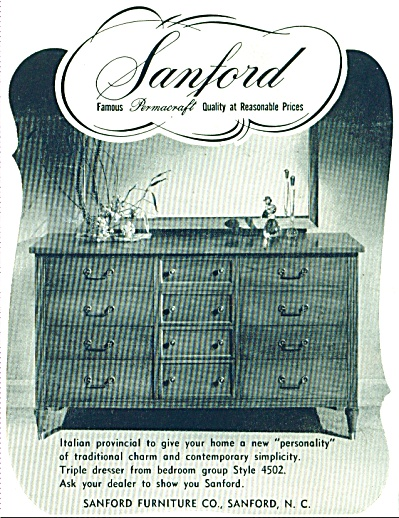 Sanford Furniture Co., Ad 1955