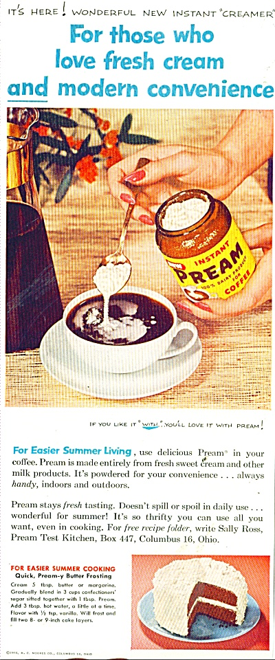 Instant Pream for coffee ad 1956 (Image1)