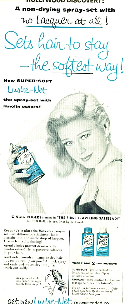 Lustre Net spray set ad 1956GINGER ROGERS (Image1)