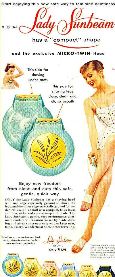 Lady Sunbeam Shavers Ad 1956