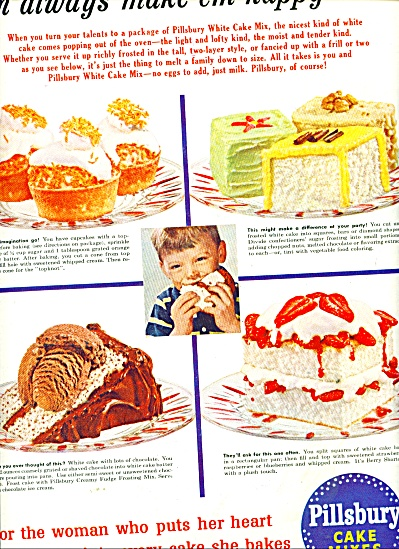 Pillsbury cake mixes (white cake) ad 1956 (Image1)