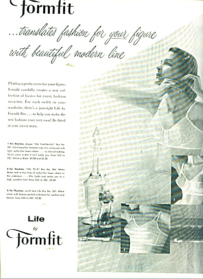 1956 Life By Formfit Bra Ad Beautiful Woman