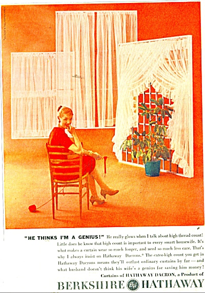 Berkshire Hathaway Dacron curtains ad 1956 (Image1)