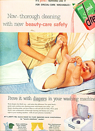 New Pink dreft washing machine soap ad 1956 (Image1)