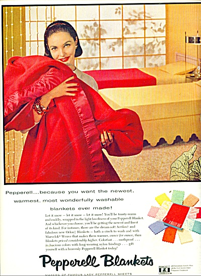 1956 Pepperell Blankets Ad Woman And Red