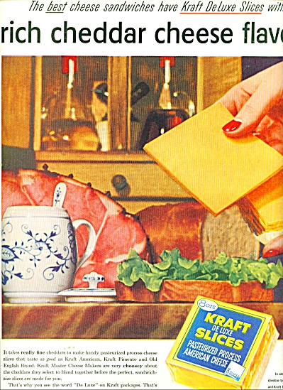 Kraft delux slices American cheese ad 1956 (Image1)