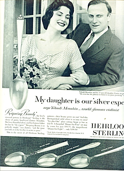 Heirloom Sterling ad 1956 - YEHUDI MENUHIN (Image1)