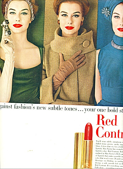 1956 MAX FACTOR RED LIPSTICK AD MODEL (Image1)