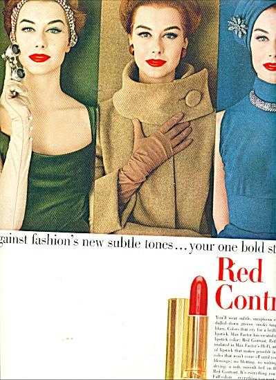 1956 MAX FACTOR RED LIPSTICK AD MODEL (Image1)