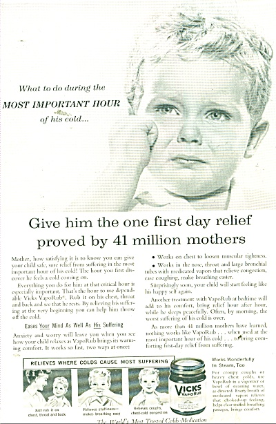 1956 Vicks Vaporub ad Little Crying BOY (Image1)