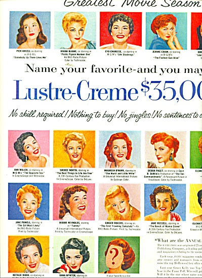 Lustre Creme Movie Star Sweepstakes ad 1956 (Image1)