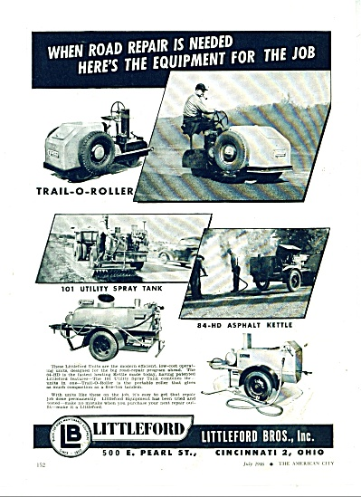 Littleford Bros., Inc., ad 1946 Road repairs (Image1)