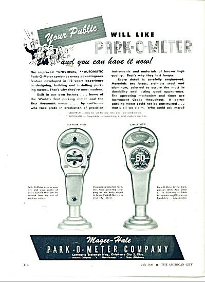 1946 MAGEE Hale Park-O-Meter PARKING METER AD (Image1)