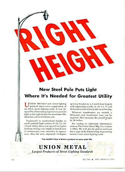 Union Metal-Street lighting poles ad 1946 (Image1)