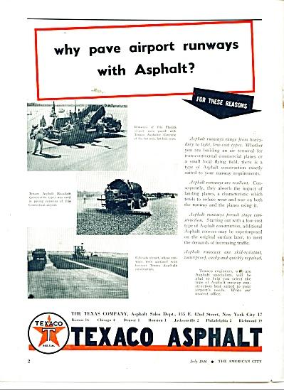 1946 Texaco Asphalt AD AIRPORT RUNWAY PAVING (Image1)