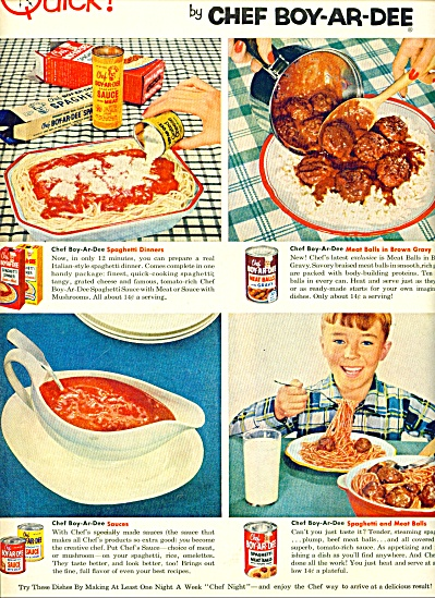 Chef Boyardee Meals Ad 1954
