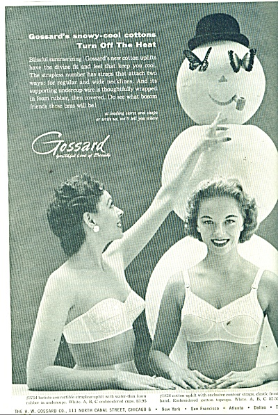 Gossard Snowy Cool Cottons Ad 1956