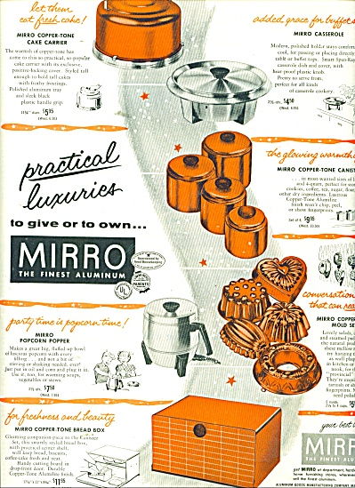 Mirro- The Finest Aluminum - Ad 1956
