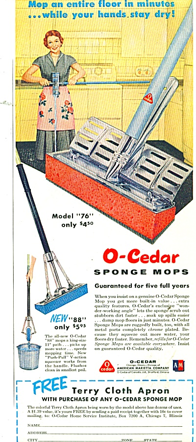 O-Cedar sponge mops ad 1956 (Image1)