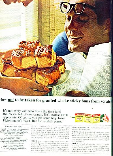 Fleischmann's yeast ad 1965 STICKY BUNS (Image1)