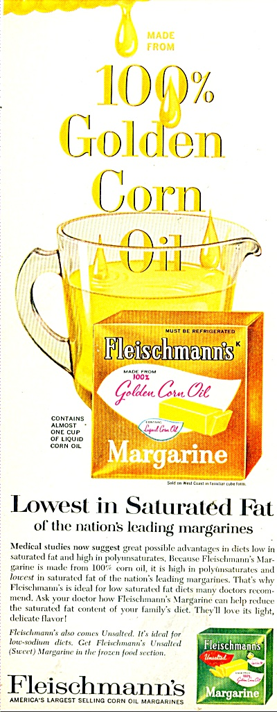 Fleischmann's Gold Corn Oil Margarine Ad1965