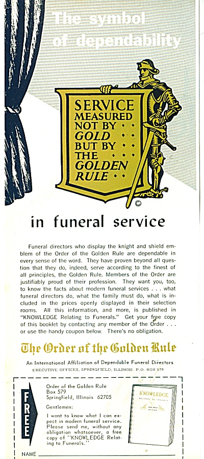 The Order of the Golden Rule-Funeral director (Image1)