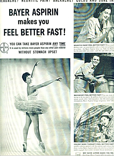 1956 BAYER Aspirin AD Ballerina ++ Photo AD (Image1)