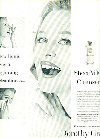 1956 Dorothy Gray Sheer velvet cleanser ad (Image1)
