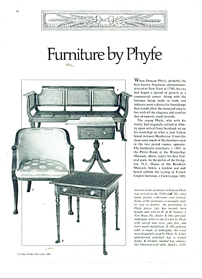 Furniture By Duncan Phyfe Ads 1980