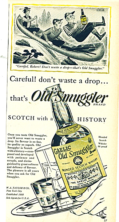 Gaelic Old Smuggler Scotch Whisky Ad 1946