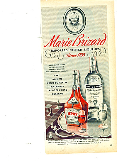 Marie Brizard Imported French Liqueurs Ad 46