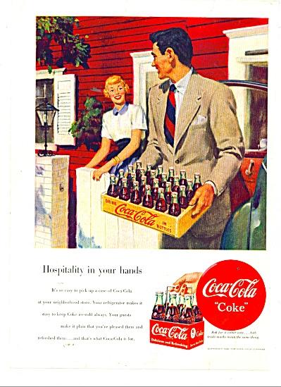 1946 COKE COCA COLA AD Vintage ART Hospitalit (Image1)