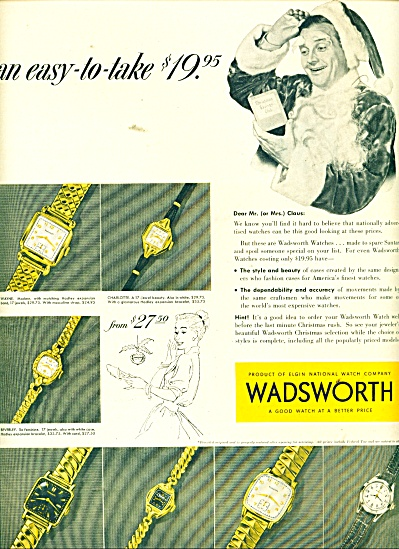 Wadsworth Watches Ad 1953
