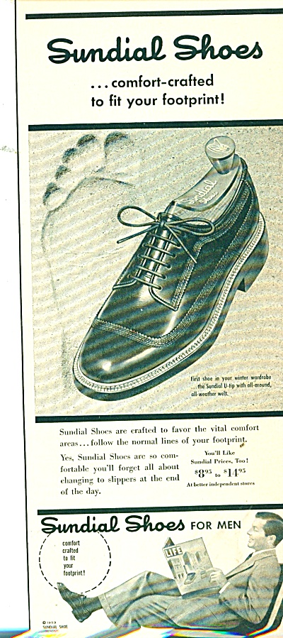 Sundial Shoes For Men Ad 1953