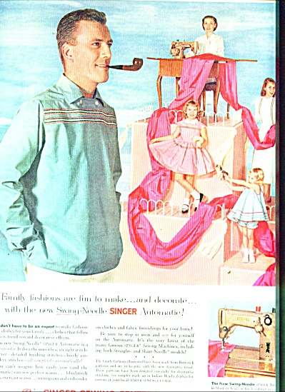 1956 Singer Sewing Ad Men's Family Fashions