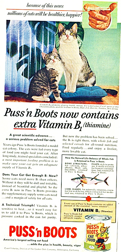 Puss 'n Boots cat food ad 1956 VITAMINS NEEDED (Image1)